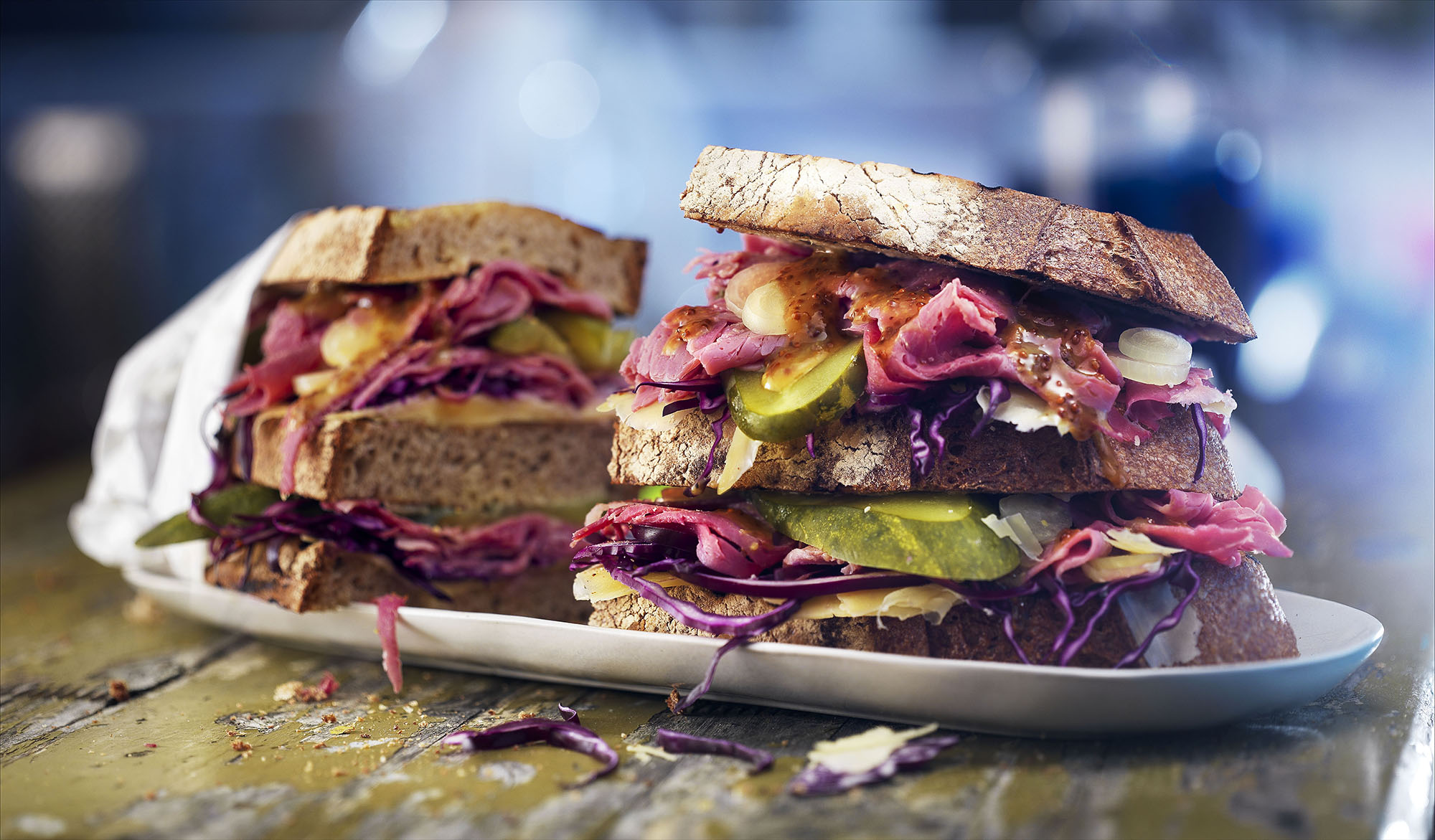 Food photography styling of pastrami sandwiches made by Studio_m Photography Amsterdam