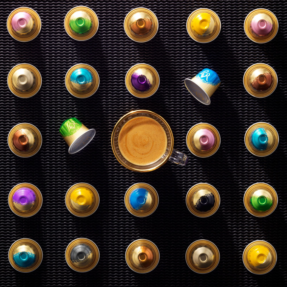 Drinks stylist photography of L'or espresso cups with a glass of coffee made by Studio_m Photography Amsterdam