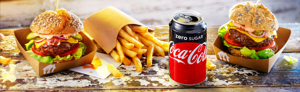 Food photography of hamburgers with fries and Coca Cola Zero made by Studio_m Photography Amsterdam