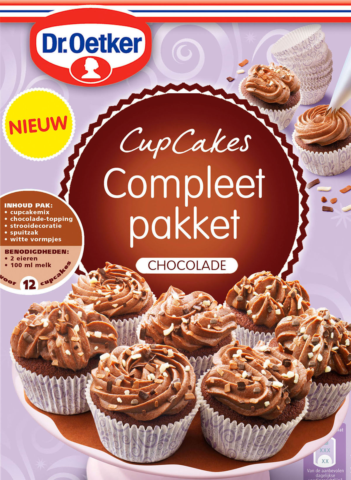 Packaging photography of Dr.Oetker's chocolate cupcakes made by Studio_m Photography Amsterdam