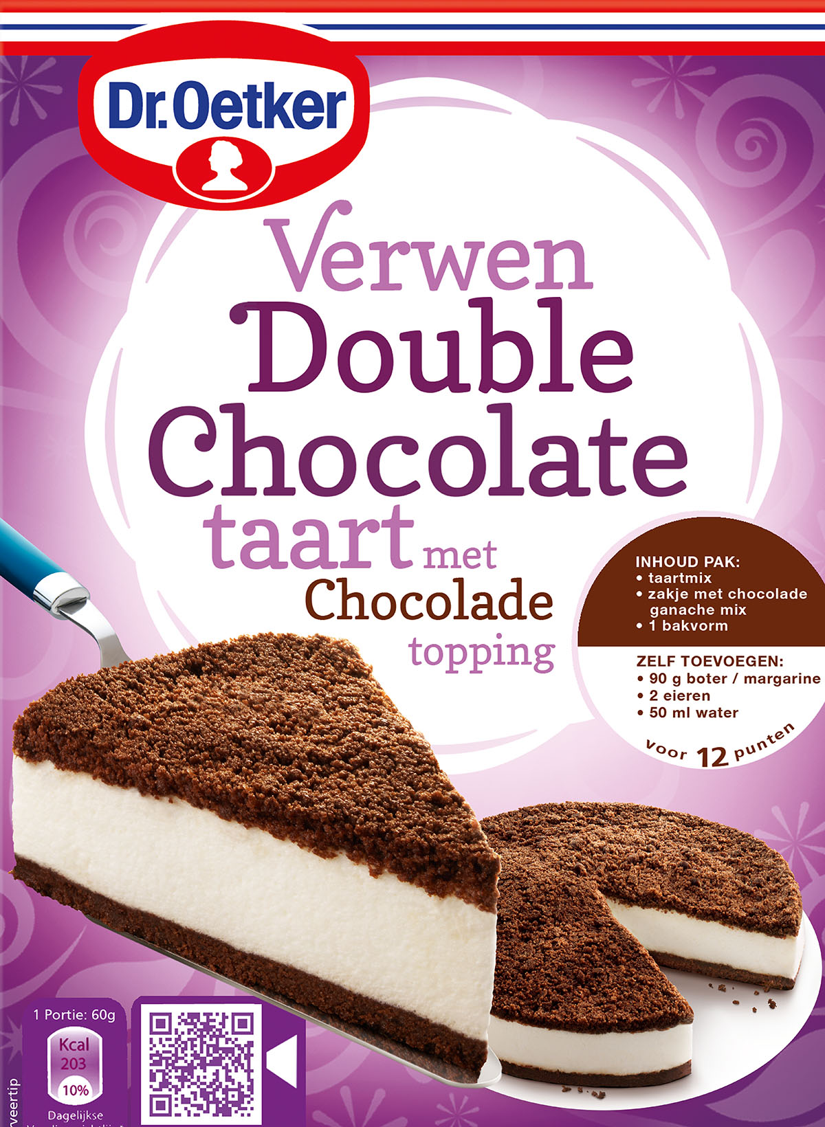 Packaging photography of Dr.Oetker's Double Choclate cake made by Studio_m Photography Amsterdam