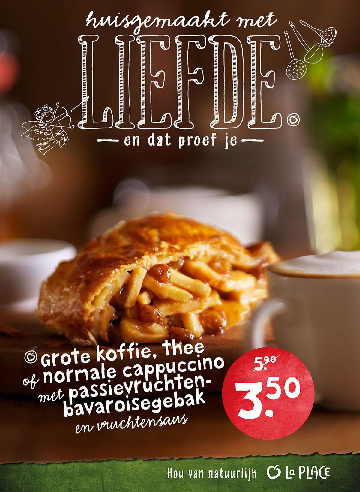 Food styling fotografie van apfelstrudel met een kopje koffie gemaakt door Studio_m Fotografie Amsterdam