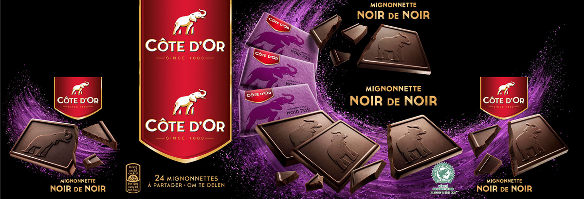 Packaging photography of Cote d'or Noir Chocolate made by Studio_m Photography Amsterdam