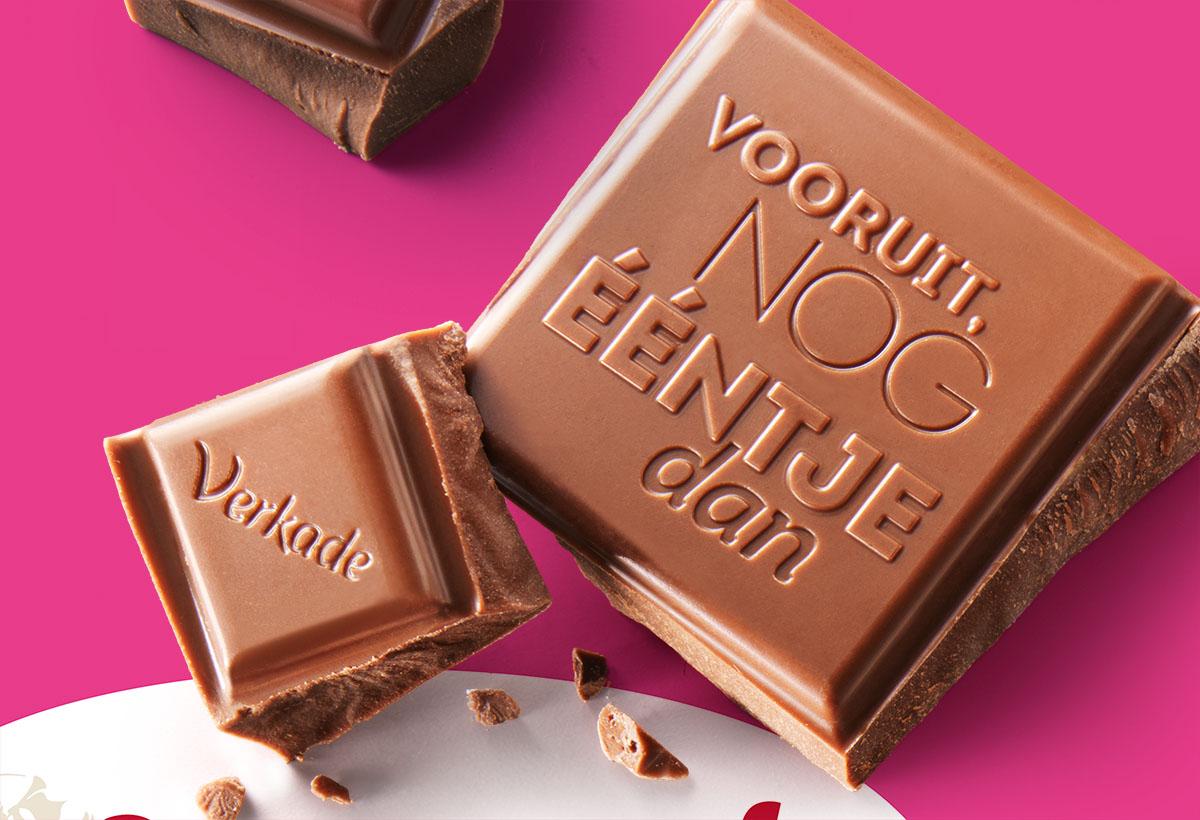 Packaging fotografie van Verkade's melkchocolade gemaakt door Studio_m Fotografie Amsterdam