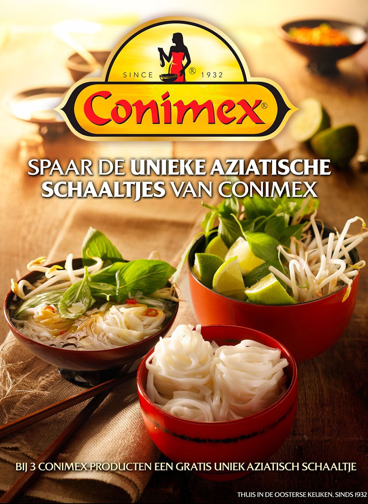 Food styling fotografie van kommetjes met taugé icm groenten van Conimex gemaakt door Studio_m Fotografie Amsterdam