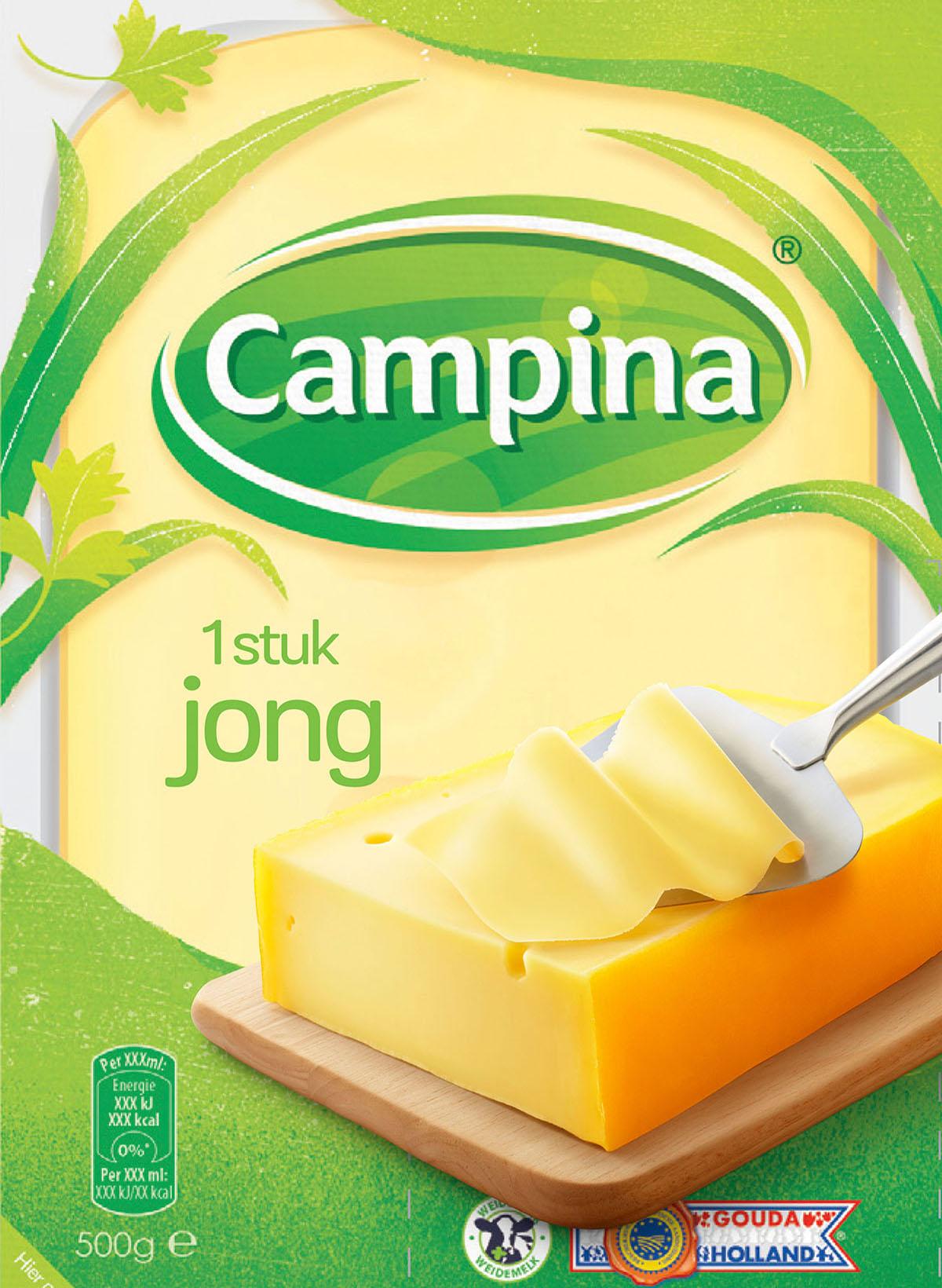 Packaging fotografie van Campina's jong kaas gemaakt door Studio_m Fotografie Amsterdam