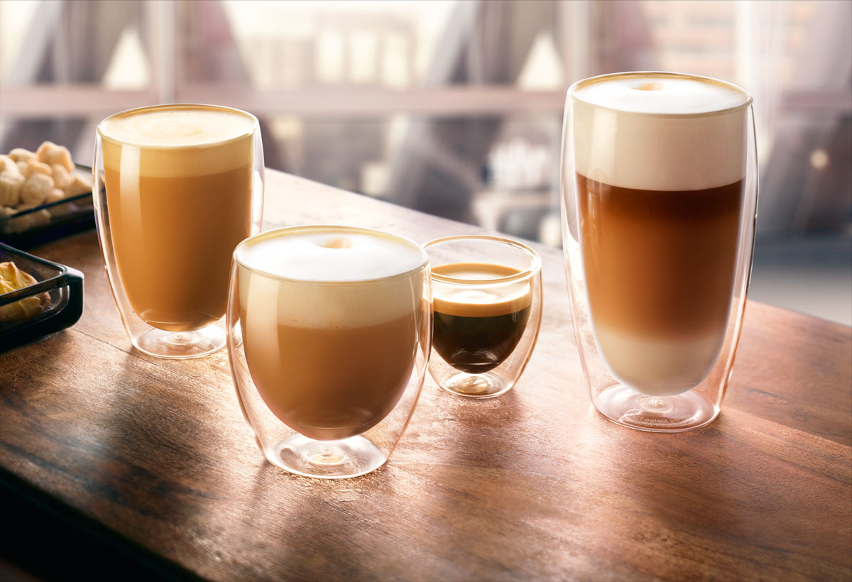 Drinks styling photography of JDE's four different sizes cups of coffee made by Studio_m Photography Amsterdam