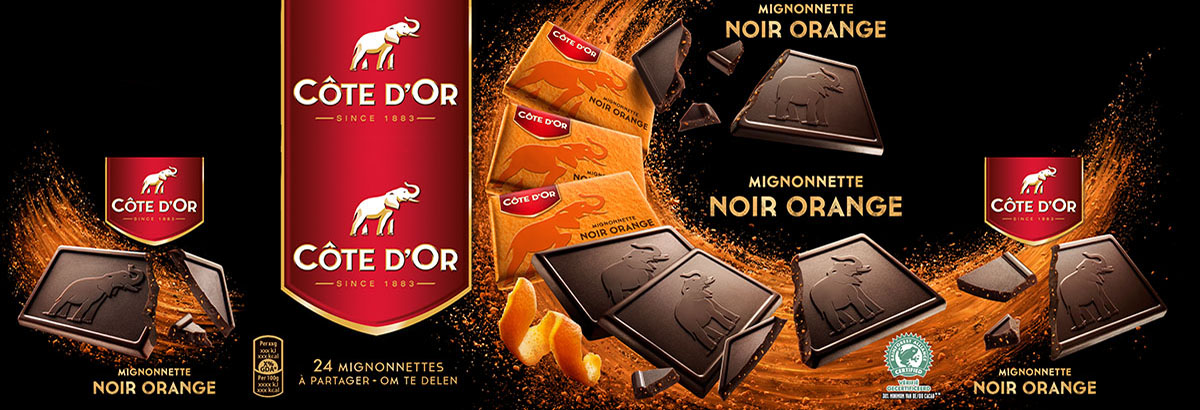 Packaging styling photography of Cote d'or's Noir orange chocolate made by Studio_m Photography Amsterdam