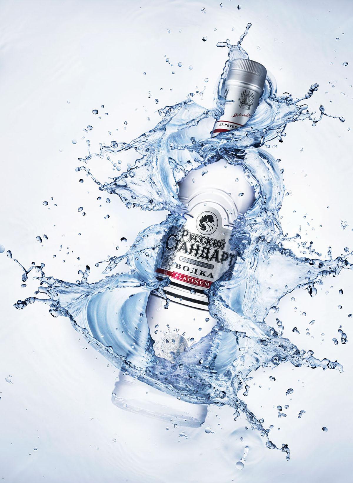 Drank fotografie van een vodka met splash gemaakt door Studio_m Fotografie Amsterdam