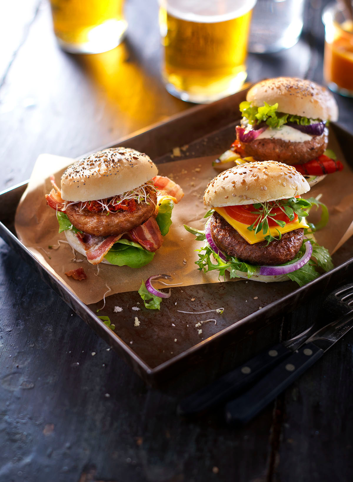 Food photography of three of TopKing's hamburgers made by Studio_m Photography Amsterdam