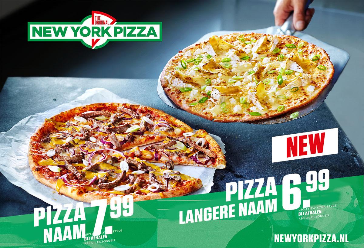 Food fotografie van twee grote pizza's van New York Pizza gemaakt door Studio_m Fotografie Amsterdam