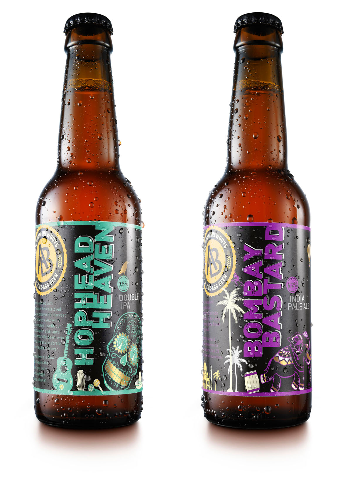 Drinks packshots photography of two of BrewBoys beer bottles made by Studio_m Photography Amsterdam