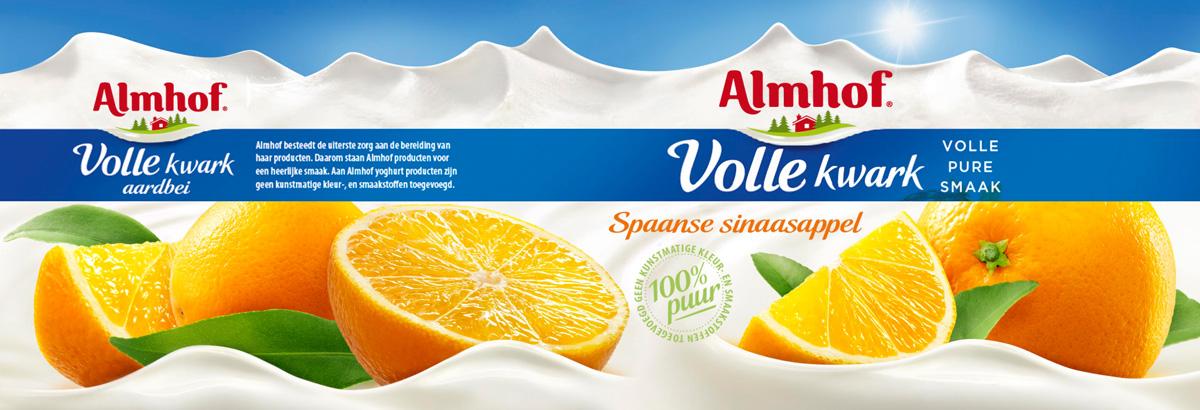 Food packaging fotografie van Almhof's volle kwark met Spaanse sinaasappel smaak gemaakt door Studio_m Fotografie Amsterdam