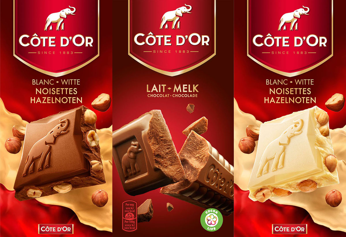 Packaging photography of three of Cote d'or's different chocolates made by Studio_m Photography Amsterdam