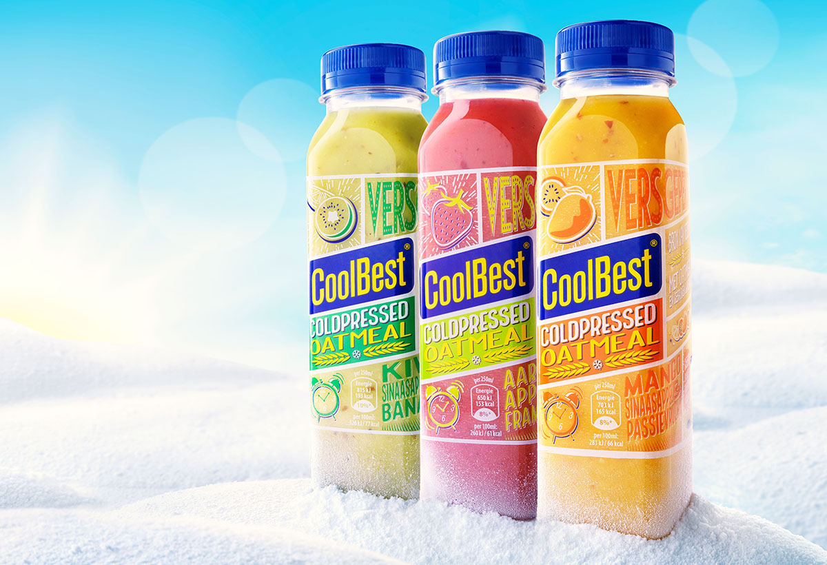 Drinks photography of three of CoolBest's smoothie bottles made by Studio_m Photography Amsterdam