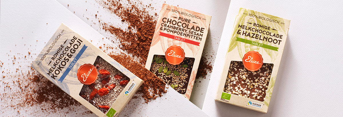 Product photography of Elvee's three different chocolate flavor made by Studio_m Photography Amsterdam