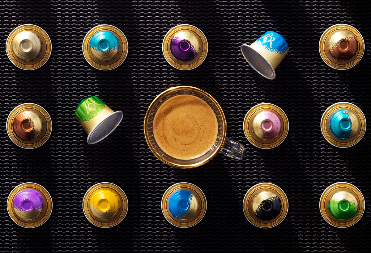 Drinks stylist photography of nine of L'or espresso cups with a glass of coffee made by Studio_m Photography Amsterdam
