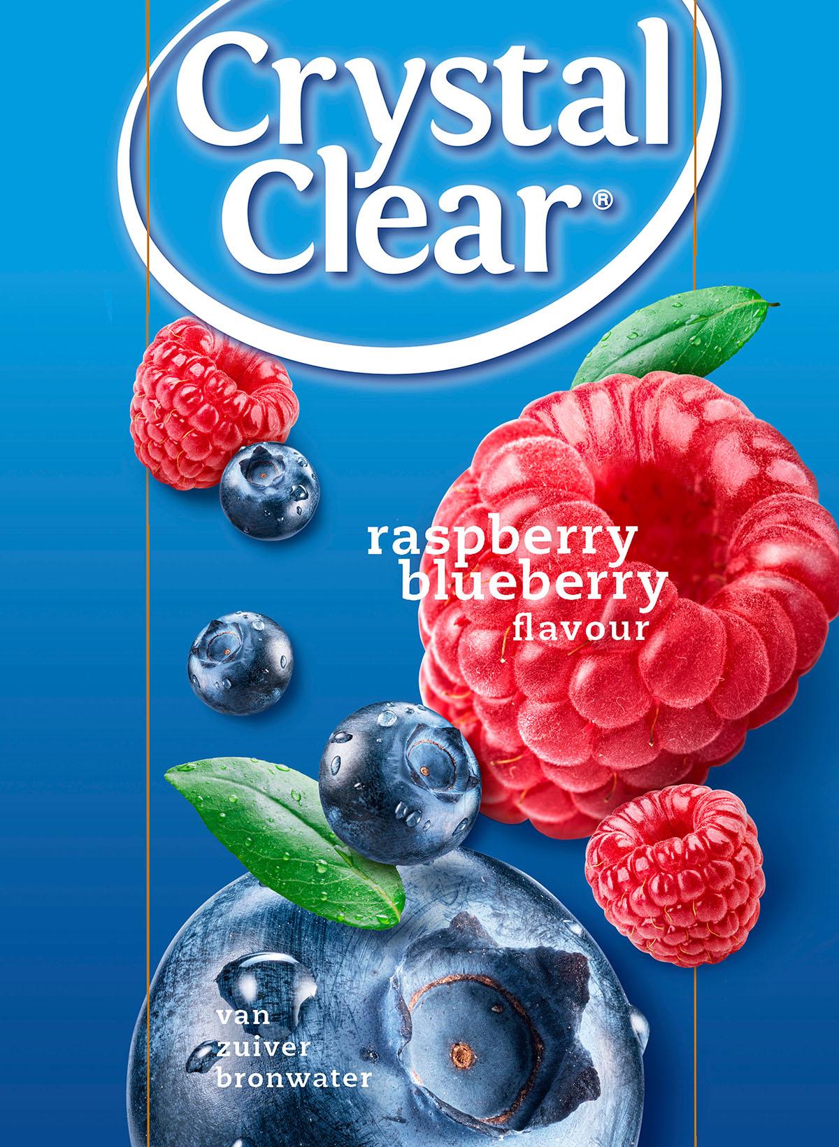 Packaging fotografie van Crystal Clear's frambozen en blauwe bessen smaak gemaakt door Studio_m Fotografie Amsterdam