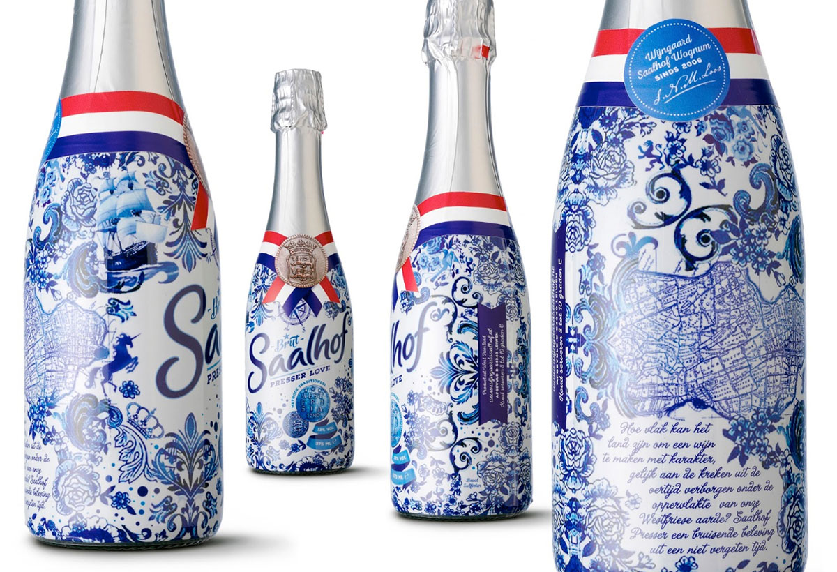 Packshots photography of Saalhof's bottle with four different angles made by Studio_m Photography Amsterdam