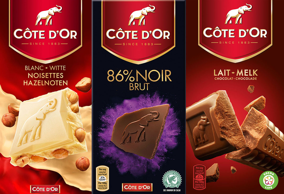 Packaging stylist photography of three of Cote d'or's different chocolates made by Studio_m Photography Amsterdam
