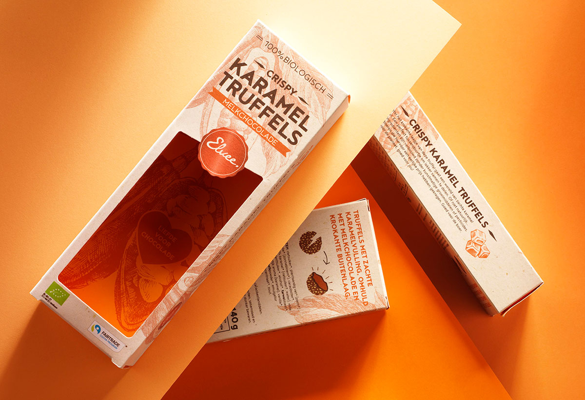 Product photography of Elvee's caramel truffels made by Studio_m Photography Amsterdam