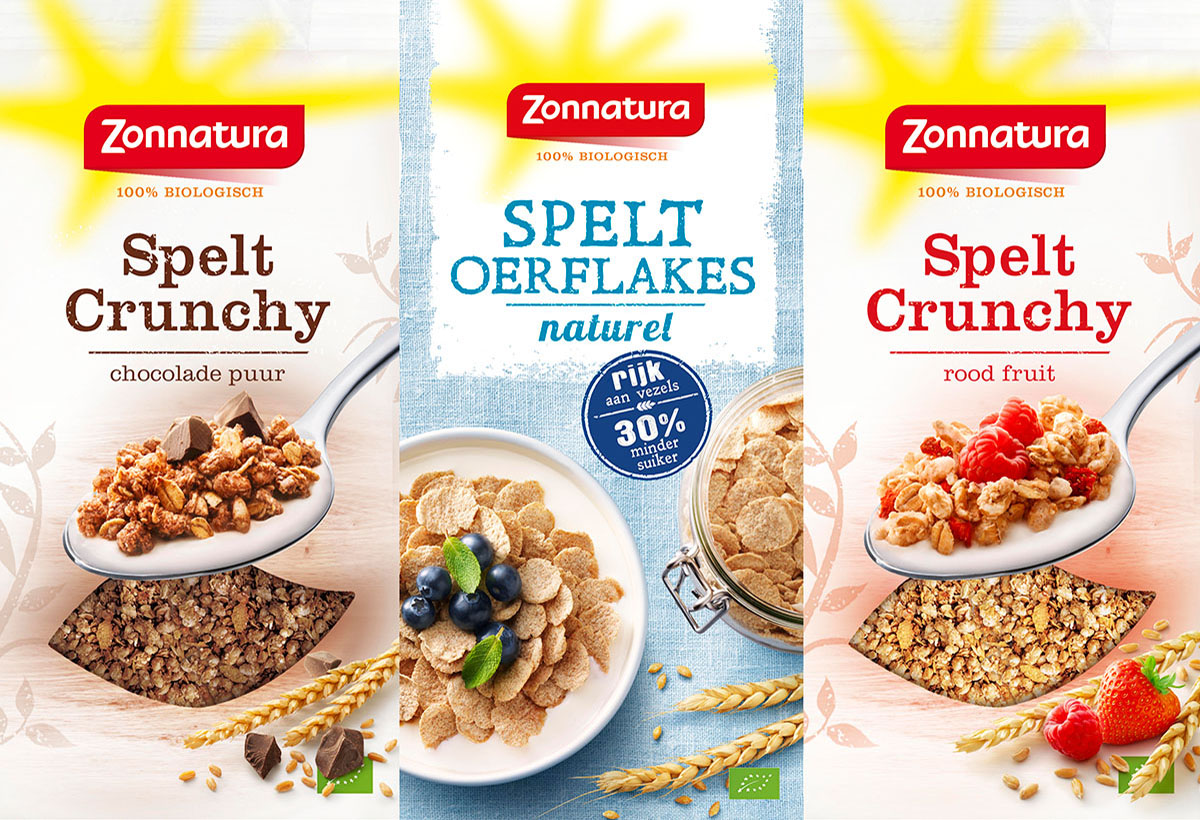 Packaging photography of Zonnatura's three different cornflakes made by Studio_m Photography Amsterdam