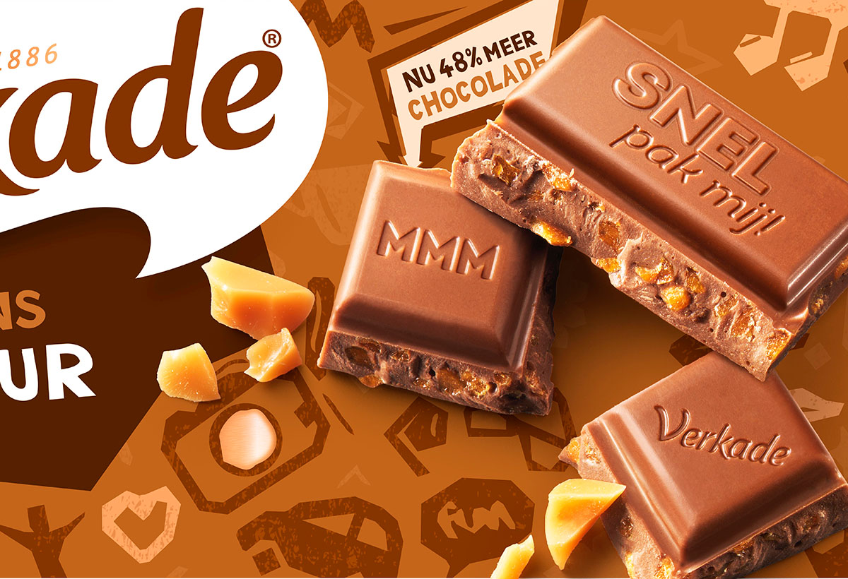 Packaging photography of Verkade's caramel chocolade made by Studio_m Photography Amsterdam