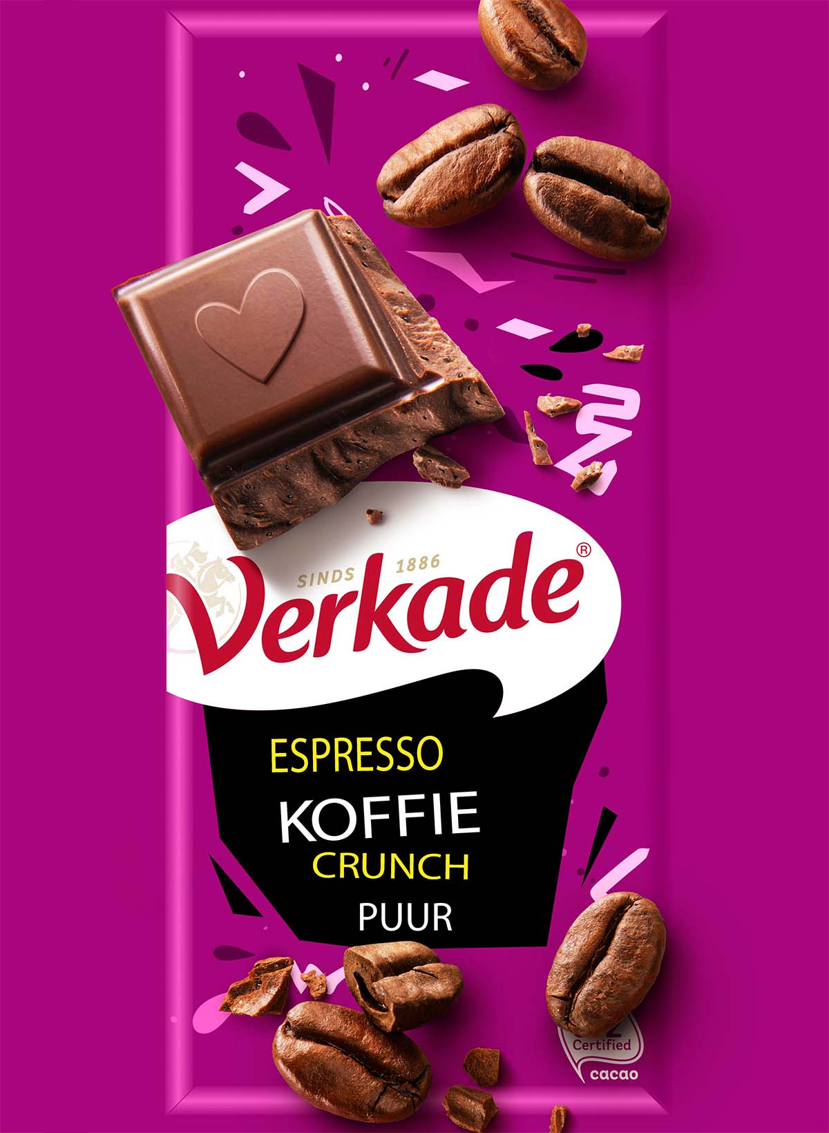 Packaging photography of Verkade's Espresso coffee crunch pure chocolate made by Studio_m Photography Amsterdam