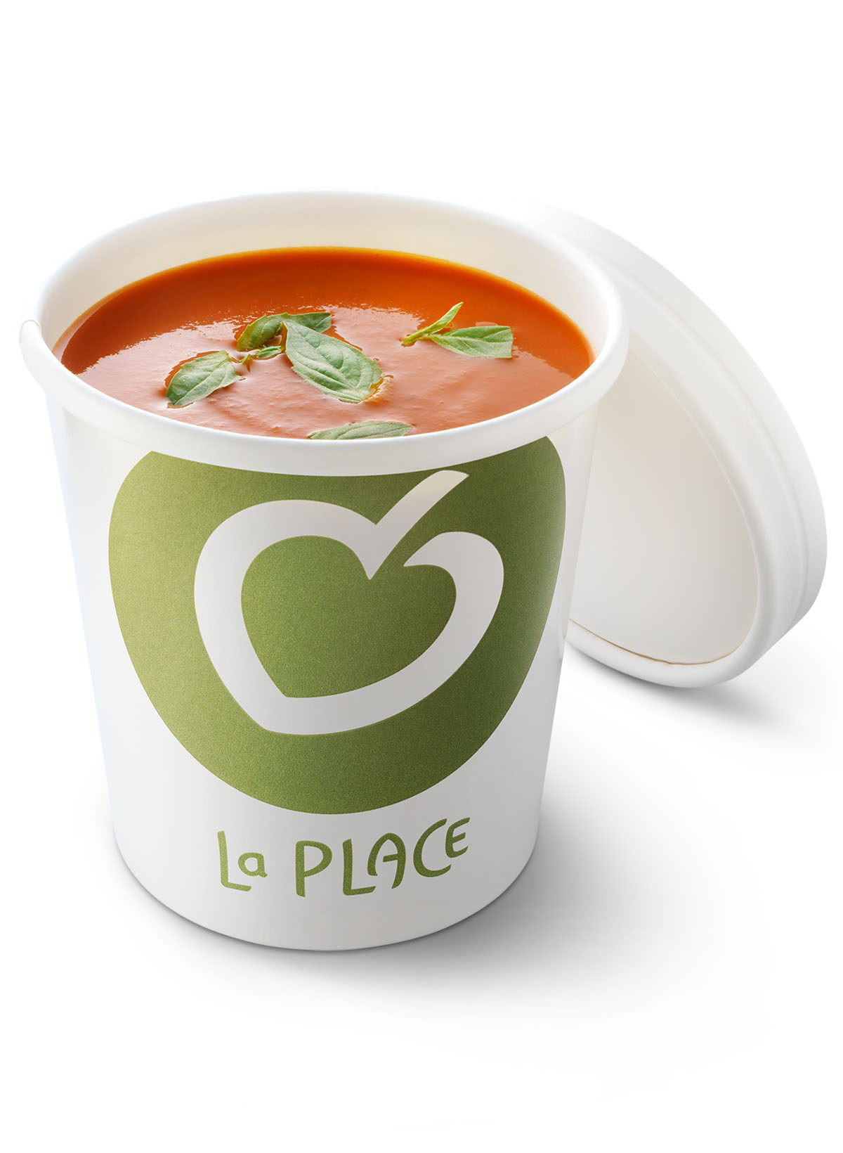 Packshots photography of La Place's cup of tomatosoup made by Studio_m Photography Amsterdam