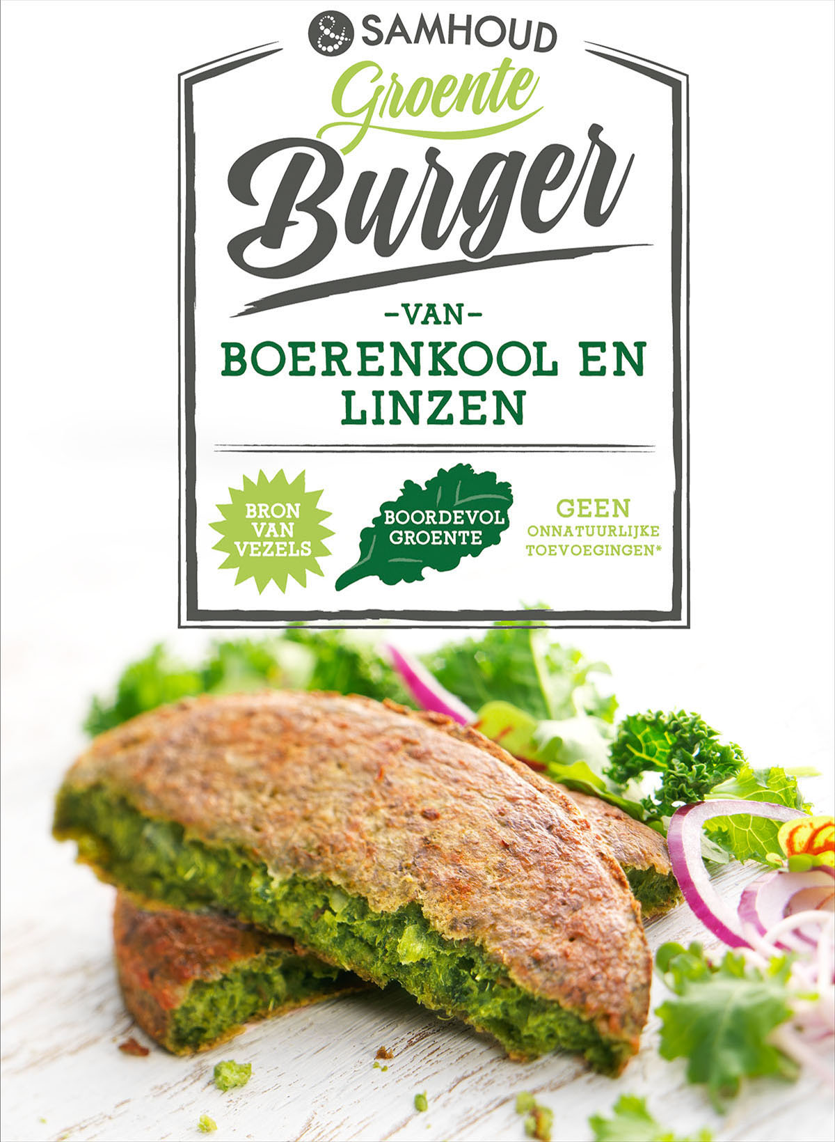 Packaging photography of Samhoud's kale and lentil burger made by Studio_m Photography Amsterdam