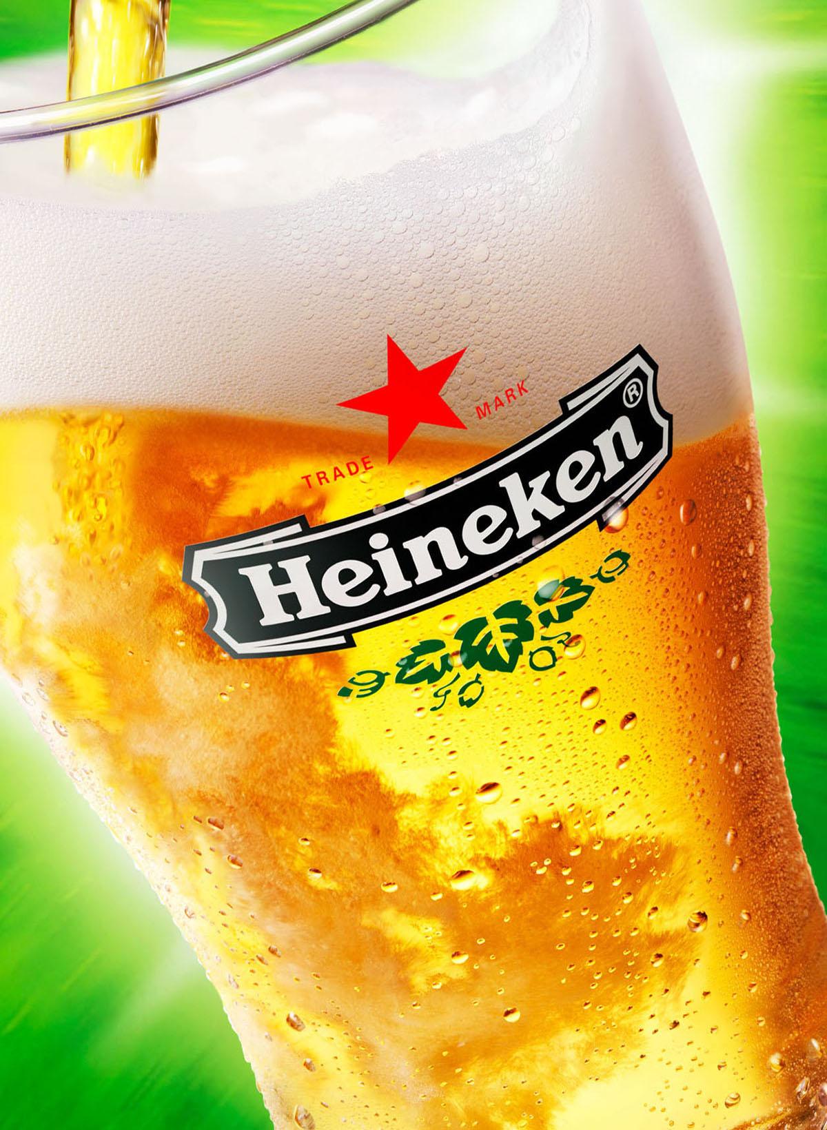Drank fotografie van een bierglas Heineken gemaakt door Studio_m Fotografie Amsterdam