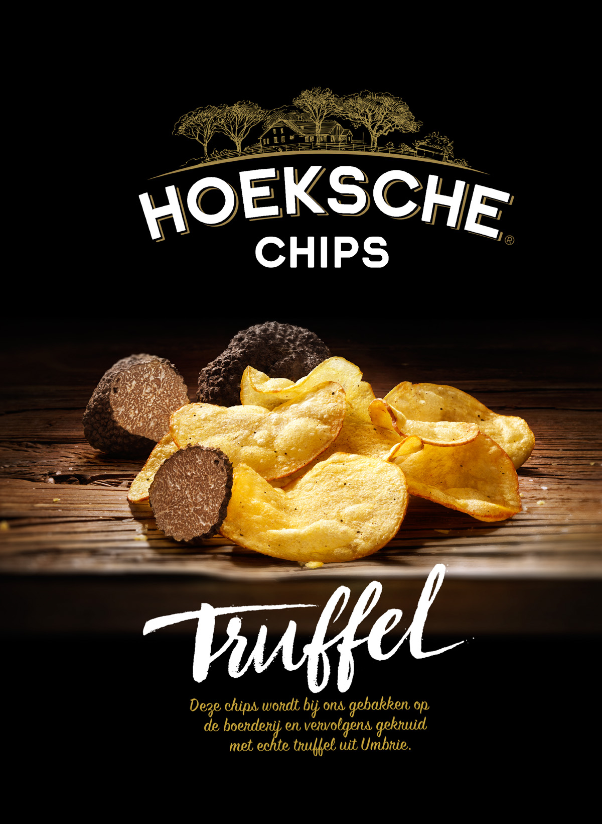 Packaging styling photography of Hoeksche Chips Truffel made by Studio_m Photography Amsterdam