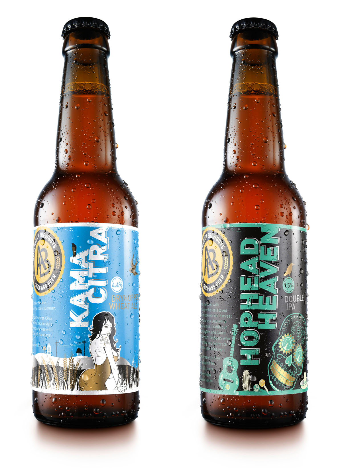 Packshots photography of two bottles of Brew Boys beer made by Studio-m Photography Amsterdam