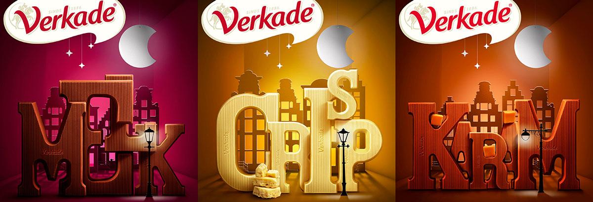 Packaging fotografie van Verkade's drie verschillende chocoladeletters smaken gemaakt door Studio_m Fotografie Amsterdam