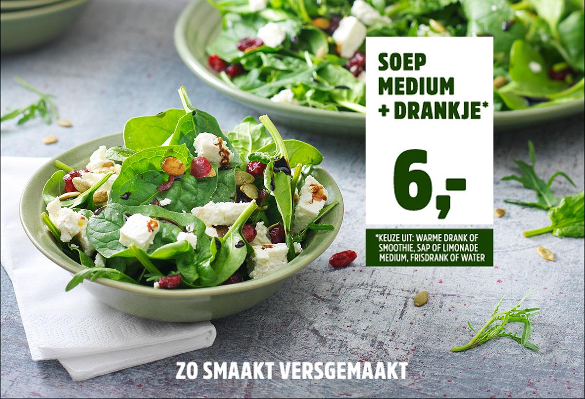Food styling culinaire fotografie van twee borden met salade van La Place gemaakt door Studio_m Fotografie Amsterdam