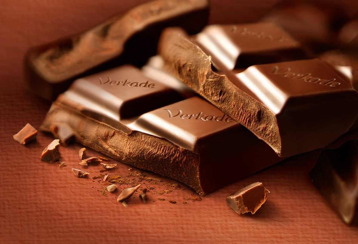 Food photography of Verkade's pure chocolate made by Studio_m Photography Amsterdam