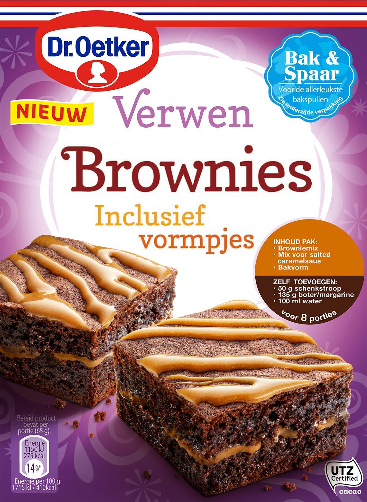 Packaging fotografie van Dr.Oetker's brownies karamel en zeezout gemaakt door Studio_m Fotografie Amsterdam