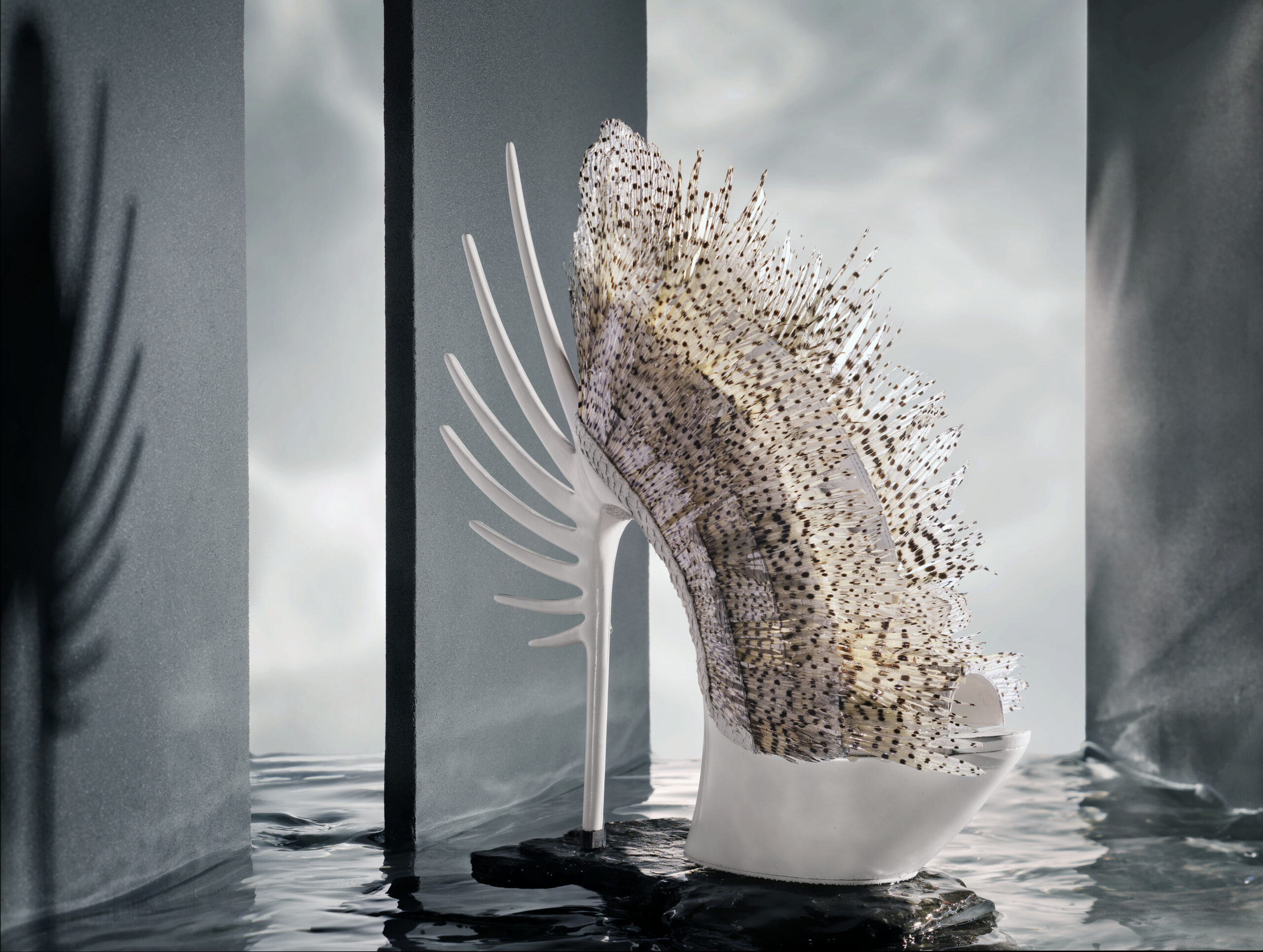 White Lionfish shoe, design van Quint Verhaart, fotografie door STUDIO_M